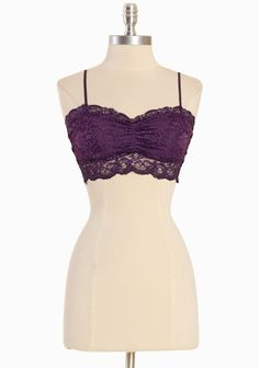 """Esbe Essentials Lined Bralette In Purple 18.99 at shopruche.com. This vibrant purple bralette is comfortably lined and accented with a sheer lace trim and adjustable straps.  7"""" length from top of bust"""
