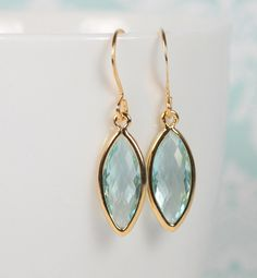 March Birthstone Aquamarine Quartz and Gold Framed Earrings by Theresa Rose Designs $12.00