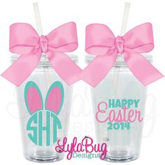 Maybe can make this with a silhouette and vinyl. Place onto Tervis or dollar store tumblers. Easter Projects, Easter Crafts, Easter Decor, Easter Ideas, Easter Centerpiece, Bunny Crafts, Easter Table, Hoppy Easter, Easter Gift