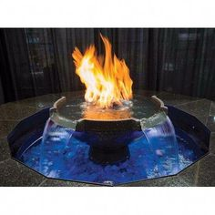 The Monaco fountain by HPC is a must have for any residence or commercial venue! This extravagant fire on water feature is equipped with an auto-fill pump system that supplies the 26 inch top bowl with gallons of filtrated water per hour. Diy Fire Pit, Fire Pit Backyard, Backyard Bbq, Backyard Landscaping, Fire Pits, Backyard Ponds, Backyard Retreat, Fire Pit With Water Feature, Diy Water Fountain