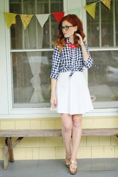 blue gingham, red floral necklace, white skirt