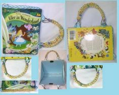 """I got the book for $3 and the fabric for $1.50. The letter beads where bought for $5 and I made colored beads from polymer clay. The handles read """"Alice In Wonderland"""" and """"A Merry Unbirthday""""..Because they needed to be about the same number of beads.  I used this tutorial for the Purse, http://www.wikihow.com/Make-a-Book-Purse  I bent a wire hanger for the handles and I'd like to ad a pocket."""