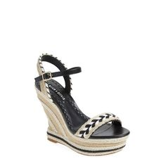 Alice + Olivia 'Janaya' Espadrille Wedge Sandal (1.290 RON) ❤ liked on Polyvore featuring shoes, sandals, black white, strap sandals, black and white strappy sandals, braided sandals, adjustable strap sandals and espadrille sandals