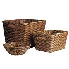 Barrett Rattan Baskets    Large  14.5W x 12.5D x 11H  $30