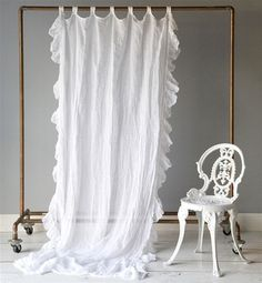 Cottage Chic offers Bella Notte Linens and Bella Notte Bedding. Linen Whisper is one of the premiere lines of Bella Notte. White Linen Curtains, Ruffle Curtains, Drop Cloth Curtains, Panel Curtains, Curtain Panels, Ikea Curtains, Long Curtains, Window Panels, Blackout Curtains