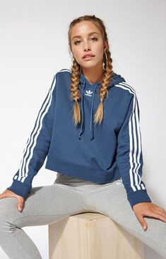 adidas hoodie New With Tags Adidas Cropped Hoodie size Xlarge Pacsun Outfits, Sporty Outfits, Cute Outfits, Fashion Outfits, Girl Outfits, Adidas Cropped Hoodie, Nike Hoodie, Adidas Crop Sweater, Look Adidas