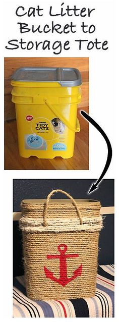 #UpCycle Cat Litter Bucket into Nautical Storage Tote // #DIY