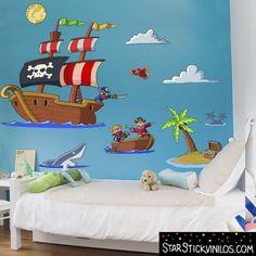 Vinilo infantil decorativo Piratas del tesoro www.starstickvinilos.com Kindergarten Interior, Room Wall Painting, Wall Decor, Room Decor, School Themes, Nursery Themes, Diy Design, Baby Room, Decoration