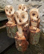 Chainsaw Carved Owl Ornamental Garden Patio Feature Sculpture Wood Wooden Medium