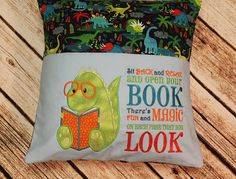 Reading Pillow / Pocket Pillow / Book Pillow When my kids were growing up, one of our favorite things to do was to read books, especially at bedtime. What great memories! Create your own memories with your child with this great reading pillow. This big 16 pillow is made using