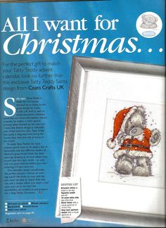 Tatty Teddy Santa - Coats Crafts UK - 51w x 66h