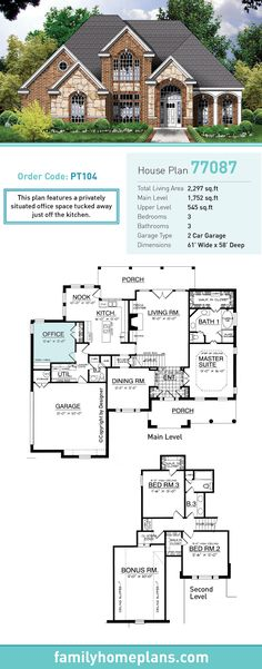 Tudor House Plan 77087 | Total Living Area: 2297 SQ FT, 3 bedrooms and 3 bathrooms. This plan features a privately situated office space tucked away just off the kitchen. #tudorhome