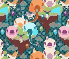 Flying Islands fabric by vannina on Spoonflower - custom fabric