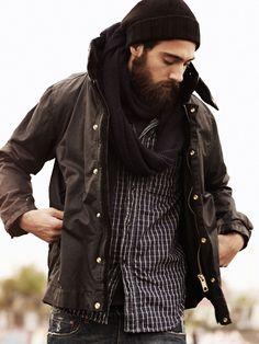 beard. hat. infinity scarf.