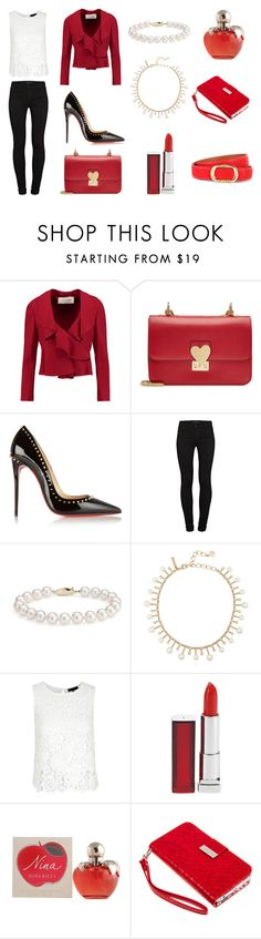 """Red"" by valguida on Polyvore featuring moda, Valentino, Christian Louboutin, J Brand, Blue Nile, Oscar de la Renta, Maybelline y Nina Ricci"