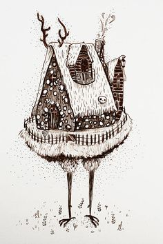 Baba Yaga House-Original Illustration Brown Micron on Paper **Item Shipping*** I have listed that the item will take about weeks to ship. In most cases I will have the item shipped in less than a week. Baba Yaga House, Mushroom Tattoos, Myths & Monsters, Witch Tattoo, Witch Art, Stop Motion, Dark Art, Sleeve Tattoos, Fairy Tales