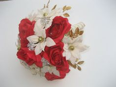 Christmas Wedding Bouquet / Holiday Wedding by DESIGNSBYDME, $85.00