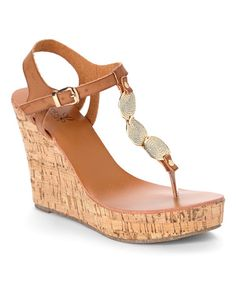 Another great find on #zulily! Tan Disc Leather Wedge Sandal #zulilyfinds