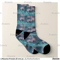 2 Manatee Friends all over print socks - Fancy Customizable All-Over-Print Crew Socks By Talented Fashion And Graphic Designers - #socks #stockigns #mensfashion #apparel #shopping #bargain #sale #outfit #stylish #cool #graphicdesign #trendy #fashion #design #fashiondesign #designer #fashiondesigner #style