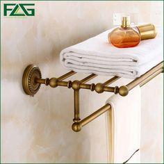 78.00$  Watch now - http://aliv32.worldwells.pw/go.php?t=32743095628 - FLG Luxury Solid Brass Bathroom Wall Mounted Bathrobes&Bath Towel Racks Classic Antique Bronze Double Bathroom Towel Shelf 80109 78.00$