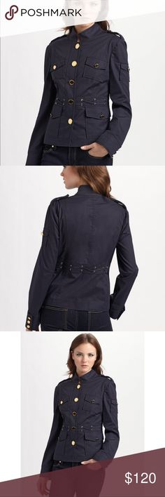 Tory Burch Military navy blue jacket Tory Burch navy blue jacket with gold buttons size 10 in great condition Tory Burch Jackets & Coats