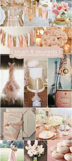 Decoração de Casamento : Paleta de Cores Blush e Dourado…