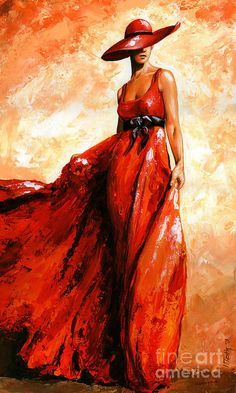 Fashion Red Painting  -  By Emerico ImreToth