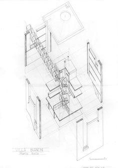 Axonometría de la Villa Bianchi en Riva San Vitale (Ticino, Suiza. 1971-73), obra del arquitecto Mario Botta / Dibujo de Jaime Diz Sanz.