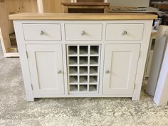 Shaker sideboard with wine rack. Painted in F&B Whimbourne White. CAN BE MADE ANY SIZE OR COLOUR!