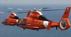 Two Coast Guard Dolphin helicopters from Air Station Miami in formation Airbus Helicopters, Coast Guard, Dolphins, Fighter Jets, Miami, Aircraft, Aviation, Plane, Airplanes