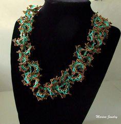 Beaded Necklace beadwork jewelry by MarinaKermanJewelry on Etsy, $59.00
