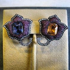JAR Paris -Moghul tulip flower ear clips of rubies, sapphires and diamonds by JAR, 1987 Instagram photo by JewelFinder