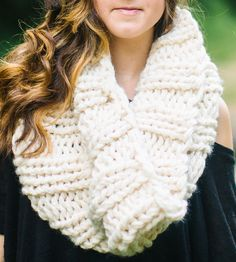 EXTRA CHUNKY KNIT COWL.  Keep warm all winter long with this super-soft chunky cowl scarf.