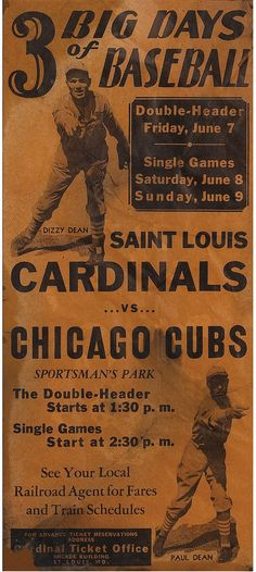 """Augie Nash on Twitter: """"The Cardinals -vs- Cubs rivalry has some deep roots! Look at this stunning ad from 1935. #STLCards… """" Cardinals Baseball, St Louis Cardinals, Double Header, Game Start, Chicago Cubs, Roots, Deep, Twitter"""