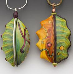 Beautiful work from Sarah Shriver . com clays, craft, clay creation, beads, polym clay, polymer clay, jewelri, inlay pendant, clay inspir
