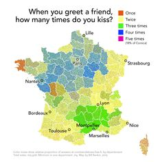 France, mapped by Bill Rankin according to how many kisses people exchange upon greeting one another. (To see original, click through & look for France) French Teacher, Teaching French, Cheek Kiss, French People, France Map, French Classroom, French Kiss, French Art, Ap French