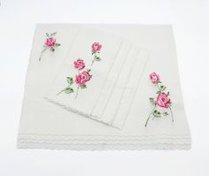 Vintage Pink Rose Embroidered Applique Napkin Placemat Set - Cotton Linen, Scalloped Edge, Floral, Shabby Chic, French Rustic by zephyrvintage on Etsy