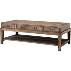 Eichholtz Military Rustic Lodge Smoked Oak 3 Drawer Rectangular Coffee... ($1,865) ❤ liked on Polyvore featuring home, furniture, tables, accent tables, home storage furniture, eichholtz, storage shelf, storage coffee tables and rectangular accent table