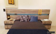 Dormitorio en color Peral con Antracita y detalle moderno metálico en dorado.  Un conjunto que da personalidad