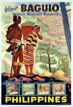 View this item and discover similar for sale at - Original vintage travel advertising poster: Visit Baguio, Philippines, Orient's Mountain Wonderland. Baguio Philippines, Les Philippines, Philippines Travel, Philippines Culture, Retro Poster, Vintage Travel Posters, Vintage Postcards, Vintage Images, Philippine Art