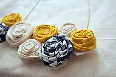 Fabric roses made into necklace