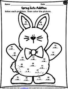 FREE Spring Addition Printable from LeahPopinski-SumMathFun on TeachersNotebook.com - (1 page) - FREE Spring addition worksheet. Just print and go! Students solve the problems and then color the picture.