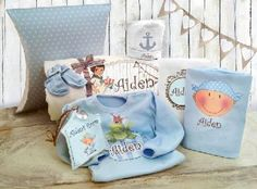 Each item is designed and printed with the baby's name in English or any other language of your choice.  A perfect gift for a new mother.  This deluxe gift set is wrapped gently and decorated with colorful ribbons.    For your choice , sizes :   0-3 mths   3-6 mths  Price: $129