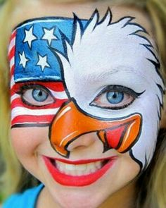 Eagle Face, Flag Face, Adult Face Painting, Painting For Kids, Mime Face, 4th Of July Makeup, Eagle Project, Face Paint Makeup, Face Painting Designs