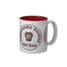Pennsylvania Railroad TrucTrain Service Coffee Mug; $18.95 - #stanrail -  Two-Tone Mug - New York to Chicago in 29 Hours. US Mail Service, Hauling truck trailers by railroad train is nothing new. Available in multiple colors and sizes. Dishwasher and microwave safe. Imported. #stanrails_store