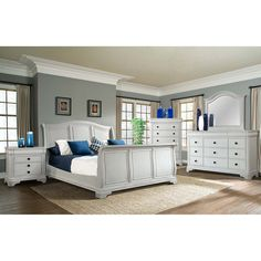 Conley Sleigh Bed 5-Piece Bedroom Set, White (Assorted Sizes) - Sam's Club