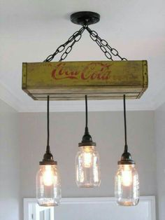 I think I'd do this with the tiny coke bottles hanging down.. 6 or more in all different lengths.