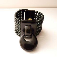 Gerda Lynggaard for Monies Statement Bracelet Dark Green Stone Beads and Horn #Monies