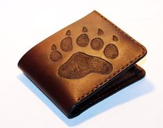 Leather wallet with bear track brown wallet great by LANDALV