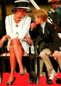 Princess Diana and Prince Harry. I love that he has his shoes off